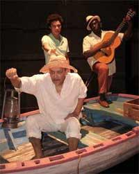 David Pendleton, Ismael Cruz Córdova and Leajato Amara Robinson in the Caldwell Theatre's production of The Old Man and the Sea, running through March 28.