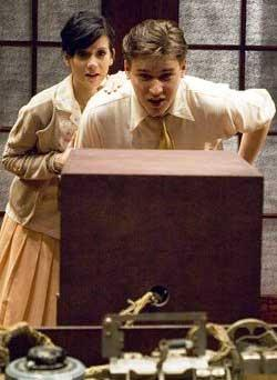Justine C. Turner and Rob Fagin in a scene from The Farnsworth Invention.