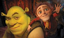 Shrek, voiced by Mike Myers, left, and Rumpelstiltskin, voiced by Walt Dohrn, in the fourth and final 'Shrek'