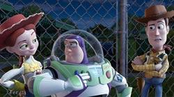 In this film publicity image released by Disney, from left, Jessie, voiced by Joan Cusack, Buzz Lightyear, voiced by Tim Allen and Woody, voiced by Tom Hanks are shown in a scene from Toy Story 3
