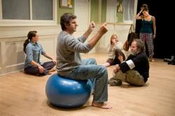 Karen Carpenter (Theresa), Jim O'Brien (James, seated on ball), Wendy Overly (Marty, in background on floor), Normand Beauregard (Schultz, on floor), Amanda Ruggiero (Lauren, background standing)