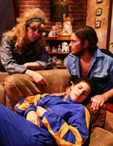 Becky Webber, Kathryn Lynch, and Sean George star in 'Trout Stanley,' playing through Sept. 25 at The Factory Theatre