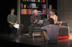 "Hamish Linklater, Alan Rickman, Lily Rabe, Hettienne Park, and Jerry O'Connell in ""Seminar"""