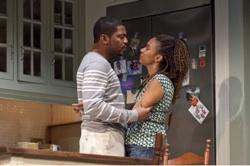"Mekhi Phifer as Flip and Tracie Thoms as Taylor in ""Stick Fly"""