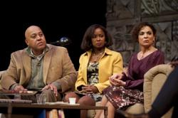 "Keith Randolph Smith as Michael Novak, Crystal Fox as Annette Raleigh, and Jasmine Guy as Veronica Novak in ""God of Carnage"""