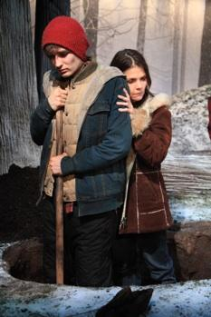 "Seth Numrich and Kathryn Erbe in a scene from the world premiere of ""Yosemite"""