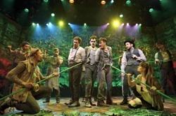 """David Rossmer, Adam Chanler-Berat, Carson Elrod, and the cast of """"Peter and the Starcatcher"""""""
