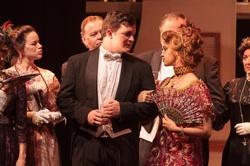 "Dwight Welch (Benjamin Guggenheim) & Amanda Cheyenne Manis (Madame Leontine Aubert) with Rachael Levy, Don Bricker, Donald Cross & Cass Stark in ""Titanic: The Musical"""