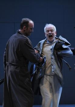 "Ian McDiarmid (center), in the title role of Timon, is accosted by his creditors performed by John Byrnes and Demetrios Troy in CST Artistic Director Barbara Gaines' production of William Shakespeare's ""Timon of Athens"","