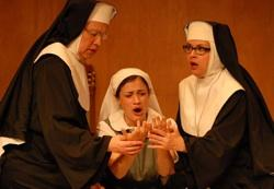 "John Michael Richardson, Ashley Hunter, and Rae Mancini in ""The Divine Sister"""