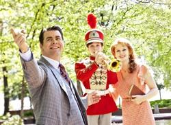 """Burke Moses as Harold Hill, Ian Berlin as Winthrop Paroo and Kate Baldwin as Marian Paroo in Arena Stage at the Mead Center for American Theater's production of """"The Music Man"""""""