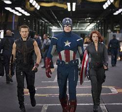"Jeremy Renner, Chris Evans and Scarlett Johansson in ""The Avengers"""