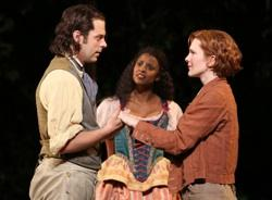 "David Furr, Renee Elise Goldsberry, and Lily Rabe in the Shakespeare in the Park production of ""As You Like It"""