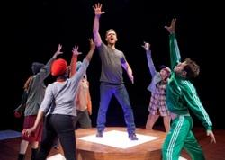 "Adam Kantor as Jeff (center) and the cast of ""Nobody Loves You"""