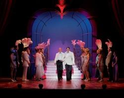 "George Hamilton, Christopher Sieber and the Company of ""La Cage Aux Folles"""