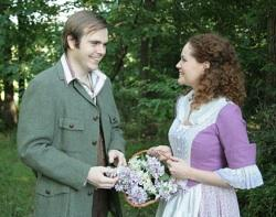 "Fiona MacClaren (Caitlin Fischer) and Tommy Albright (James Benjamin Rodgers) in ""Brigadoon"""