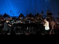 Michael Feinstein and Marvin Hamlisch at a pair of dueling pianos.
