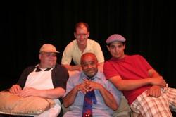 "Bob Gruslin, Paul Oliver, Alex Aponte and Joe Chandonnait in ""The Boys Next Door"""