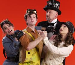 "Caroline Rivera as Penelope Pennywise, Kyle Montgomery as Bobby Strong, Scott Bardin as Caldwell B. Cladwell and Michelle Foard as Hope Cladwell in ""Urinetown: The Musical"""