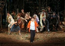 "he cast of Into ""The Woods,"" in The Public Theater's Shakespeare in the Park production, directed by Timothy Sheader with co-direction by Liam Steel"