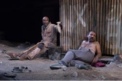 Leon Addison Brown as Simon and Ritchie Coster as Roelf in 'The Train Driver'