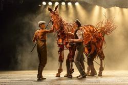 Albert (Andrew Veenstra) with Christopher Mai and and Joey in 'War Horse'