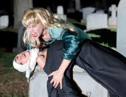 Susannah Mryvold and Katie Pelensky in 'Wake Not the Dead' at Mountain View Mausoleum and Cemetery