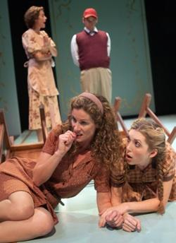 Caroline and Dodie (front l-r, Marcia Pizzo*, Heather Gordon) hide behind the bushes while their mother (back l, Stacy Ross*) scolds their brother Billee (back r, Patrick Russell*) in 'Childhood,' part of Aurora Theatre Company's 'Wilder Times'