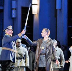 "Kristinn Sigmundsson (King Heinrich der Vogler), Brandon Jovanovich (Lohengrin) and Camilla Nylund (Elsa von Brabant) in San Francisco Opera's ""Lohengrin."" (Photo: Cory Weaver)"