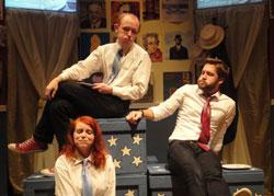Brenna Fitzgerald, Brooks Reeves, and Morgan Bernhard star in '44 Plays for 44 Presidents,' continuing through Nov. 11 at the BCA