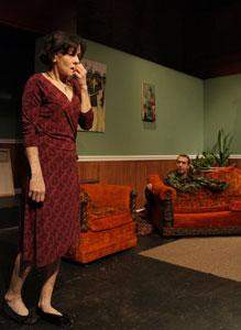 "Lorna Noguiera and Andrew Cromartie star in ""The Man in the Couch,"" continuing through Nov. 18 at the Factory Theater"