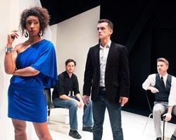 "Tensions rise between a playwright (Eric Carr, center) and the actress (Sam Jackson) he has hired to impersonate a fictitious black playwright, as his friend and lover (Chris Morrell and Alex Kirschner) look on in ""The Submission"" at NCTC. (Photo: Lois Tema)"