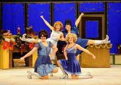 Lulu Lloyd (on knees), Melissa Robinette, Erin McCracken, and Kim Morgan Dean (on knees) star as Missy, Suzy, Cindy Lou and Betty Jean in the delightful musical comedy, 'The Winter Wonderettes'