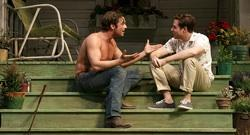 Sebastian Stan as Hal, a drifter who can't seem to keep his shirt on, and Ben Rappaport as a college student