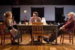 Ensemble members Moira Harris, Ian Barford and John Mahoney in rehearsal for Steppenwolf Theatre Company's production of 'The Birthday Party' by Harold Pinter