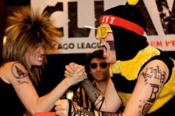 """Kentucky Thunder"" vs. ""The Killer Bee"" at CLLAW: The Chicago League of Lady Arm Wrestlers"