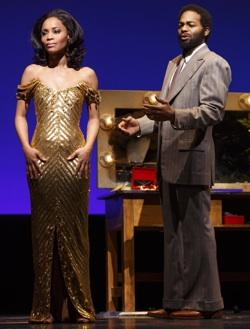 Valisia LeKae as Diana Ross and Brandon Victor Dixon as Berry Gordy