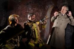 irefighters (l, Tristan Cunningham*, c, Kevin Clarke) try to stop Mr. Biedermann (r, Dan Hiatt*) from lighting his cigarette in Aurora Theatre Company's 'The Arsonists'