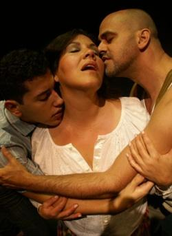 Javier Cabrera, Evelyn Perez and Ricky J. Martinez find their lives intertwined in the New Theatre world premiere of Martinez' 'Road Through Heaven'