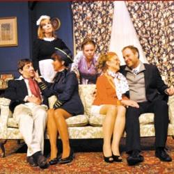 The cast of the Granite Theatre's production of 'Boeing Boeing,' David LaRocque, Lisa Clough, Carrie Heise, Edward Bejamin, Christine Reynolds and Anna Armagno