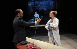 Miguel (l. Adrian Anchondo) tries to convince Emma (r. Jessica Bates*) to speak to her father (back, Rolf Saxon*) in Aurora Theatre Company's production of After the Revolution