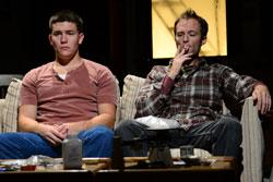 "Jimi Stanton as Dennis and Alex Pollock as Warren in ""This Is Our Youth"" at the Gloucester Stage"