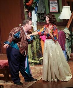 Ken Clement and Michelle Foytek as two aging thespians have a rare harmonious moment in costume for Cyrano de Bergerac in Broward Stage Door's 'Moon Over Buffalo'