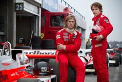 Chris Hemsworth and Daniel Brühl in a scene from 'Rush'