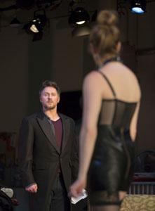 Chris Kipiniak as Thomas and Andrea Syglowski as Vanda in the Huntington Theatre Company's production of 'Venus in Fur,' directed by Daniel Goldstein