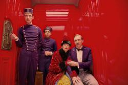 Ralph Fiennes, Tilda Swinton, Tony Revolori and Paul Schlase star in 'The Grand Budapest Hotel'