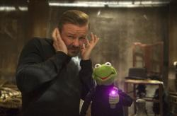 Ricky Gervais co-stars with Kermit the Frog in 'Muppets Most Wanted'