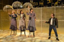 Paula Langton, Christine Hamel, Adrianne Krstansky, and Benjamin Evett star in 'On the Verge,' playing through May 25 at the New Rep