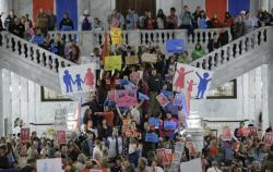 Protesters are shown during a rally against gay marriage in Utah.