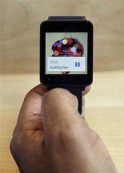 The LG G Watch, an Android Wear smartwatch, on the demo floor at Google I/O 2014 in San Francisco.